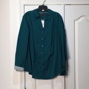 Lawn Bryant 26 button down blouse NWT deep teal